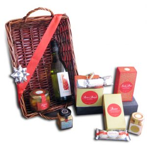 Basket with Wine and Christmas Goodies
